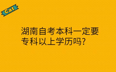 湖南自考本科一定要专科以上学历吗