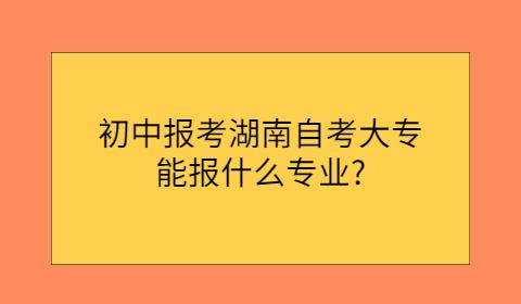 湖南自考大专报考专业